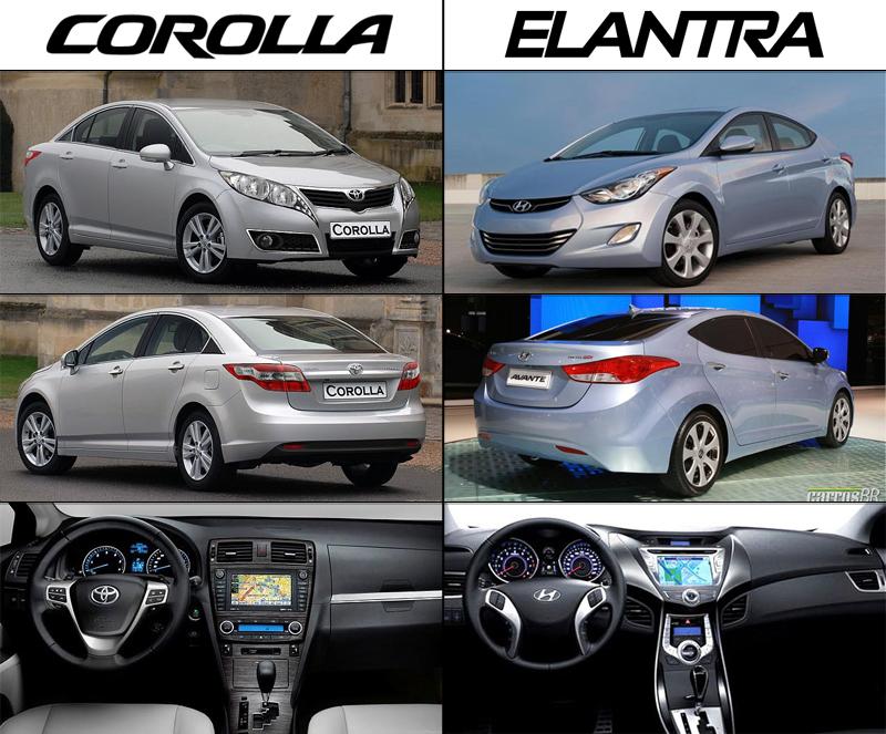مقارنة بين سيارة تويوتا كورولا و سيارة هونداي النترا في الشكل الخارجي