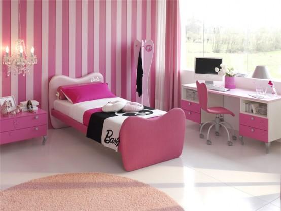 غرف نوم للبنات لونها وردي