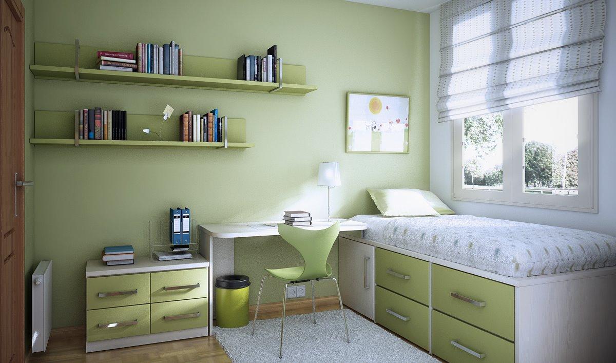 غرفة لون عشبي