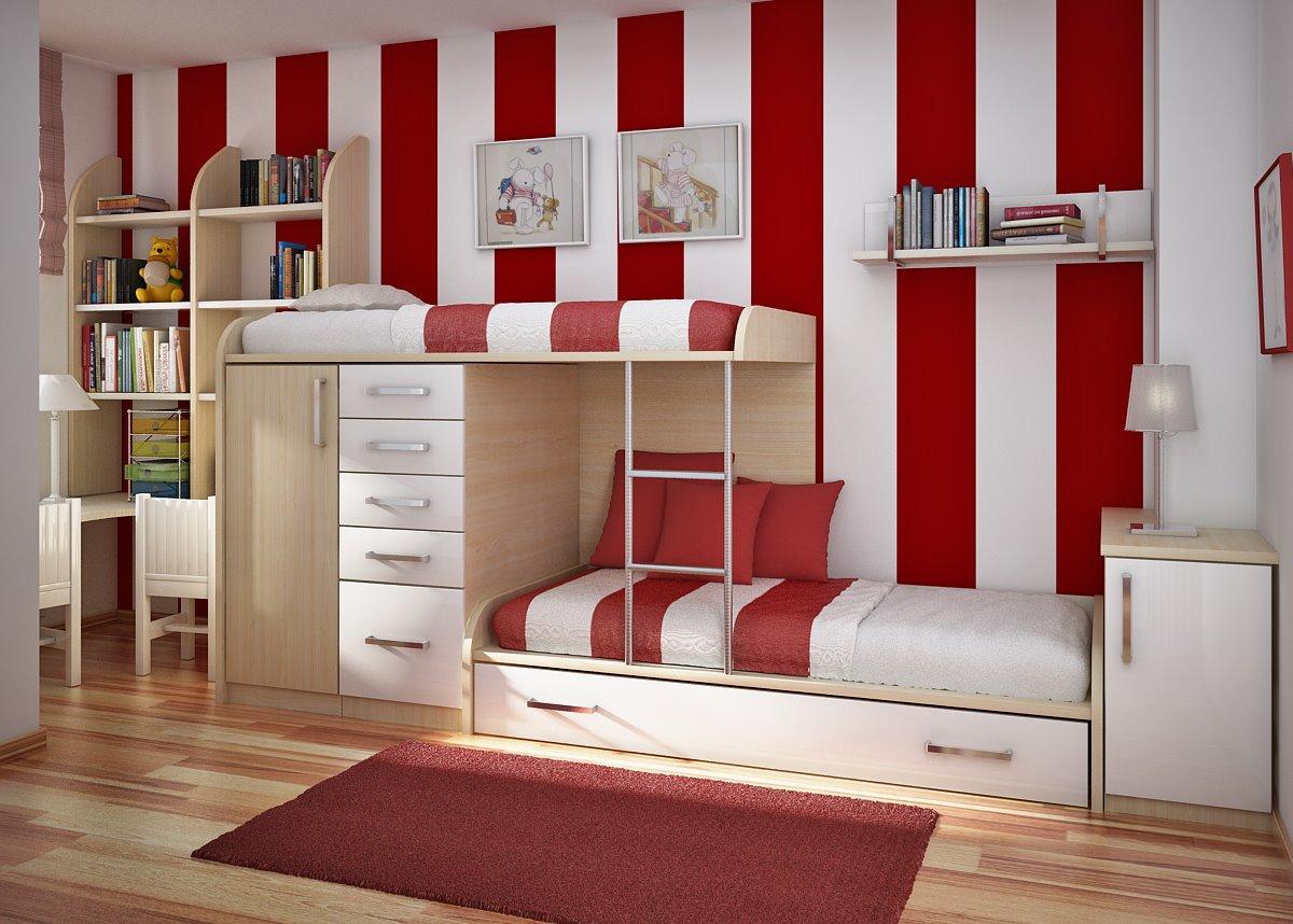 تصميم غرفة بسريرين صغيرة