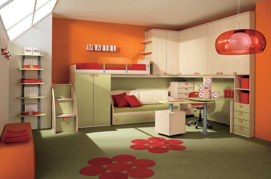 فكرة غرفة نوم للطفل المرسال 12594 | 9 modern and colorful kid bedroom designs by arredissima pale green and orange kids bedroom design
