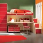 فكرة سرير علوي بدرج و مكتب تحته