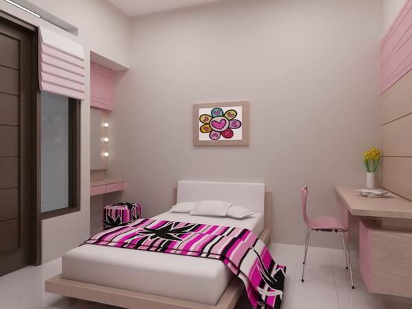 تصميم غرفه ناعمه سرير واحد لون حليبي