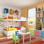 فكرة روعة لغرفة سريرين دورين خشب ملون
