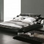 غرفة نوم لون رمادي و سرير كبير - 3043