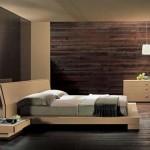 تصميم غرفه نوم خشبية بيج و بني - 3048