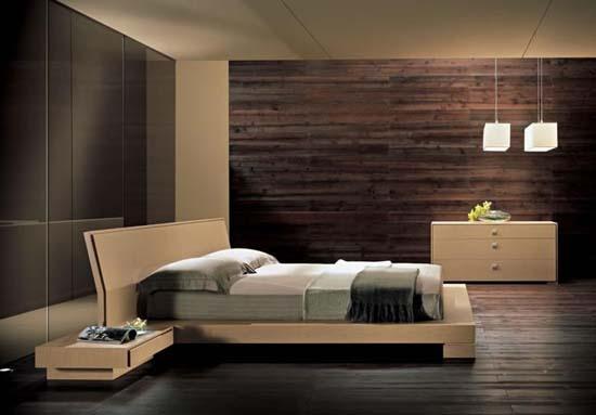 تصميم غرفه نوم خشبية بيج و بني | المرسال
