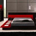تصميم غرف نوم سرير واطي لون احمر و رصاصي - 3038