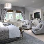 ديكورات و تصميم غرف نوم مع كراسي و مكتبة تلفزيون - 4446