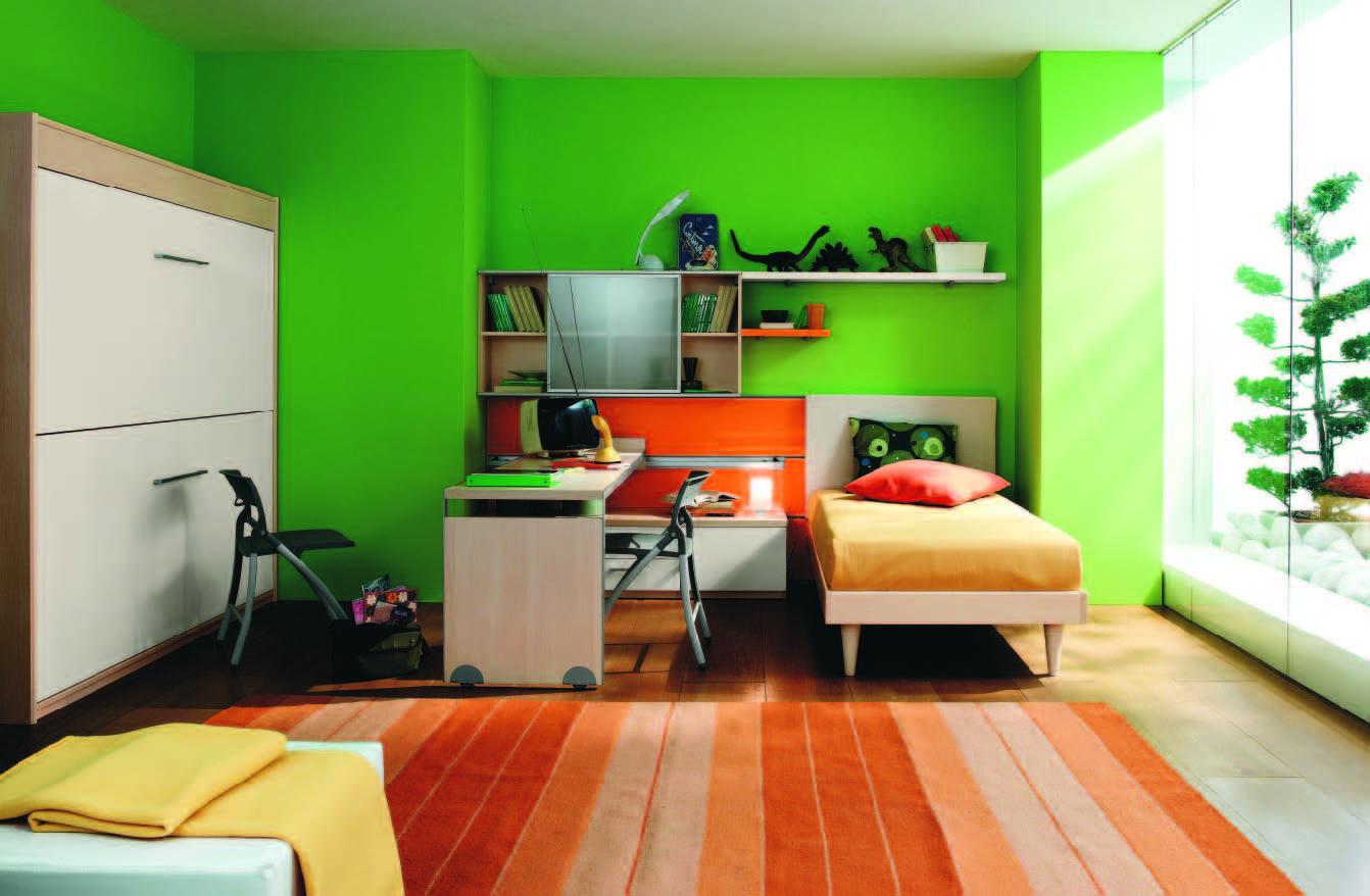 غرف نوم أولاد لونها اخضر تفاحي