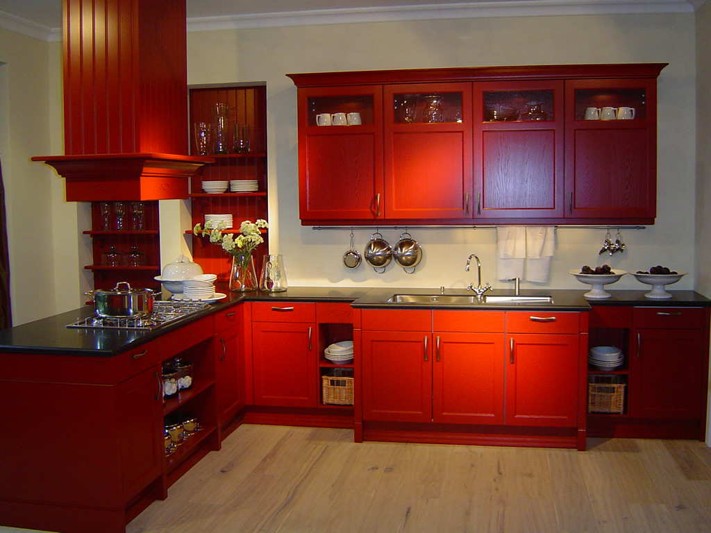for Red kitchen designs photo gallery