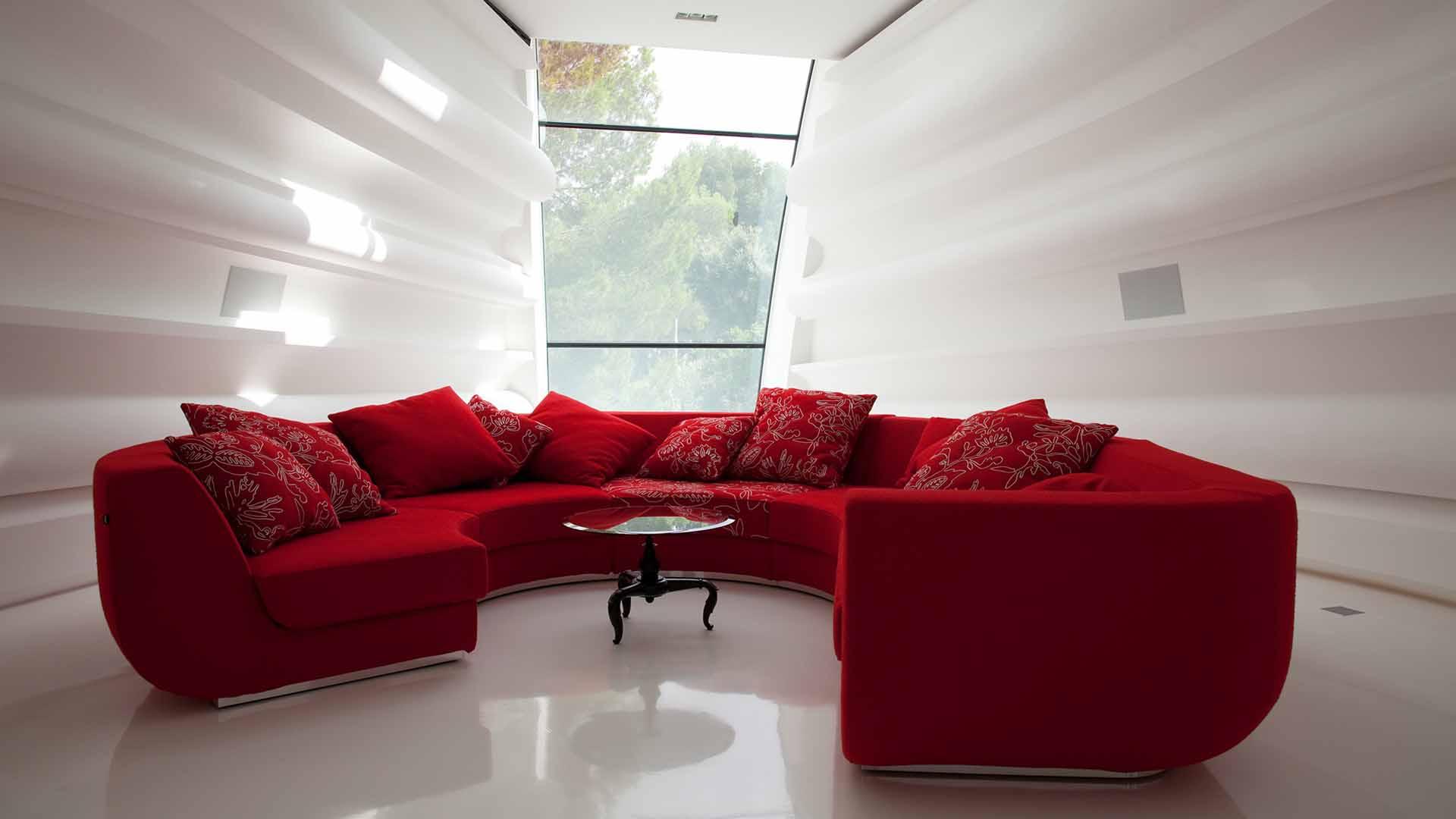 غرف جلوس مودرن باللون الاحمر جديد 2014