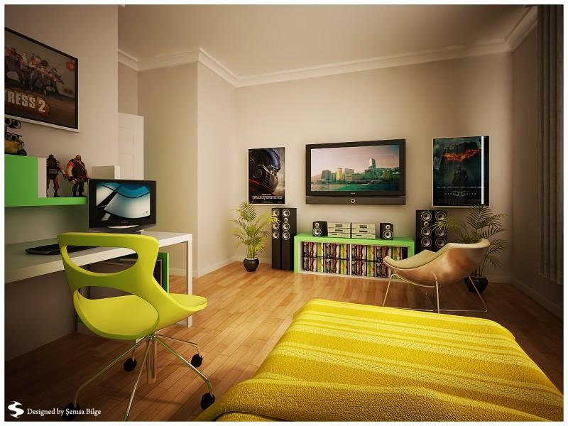 مكتبة تلفزيون داخل غرفة النوم للشباب   المرسال