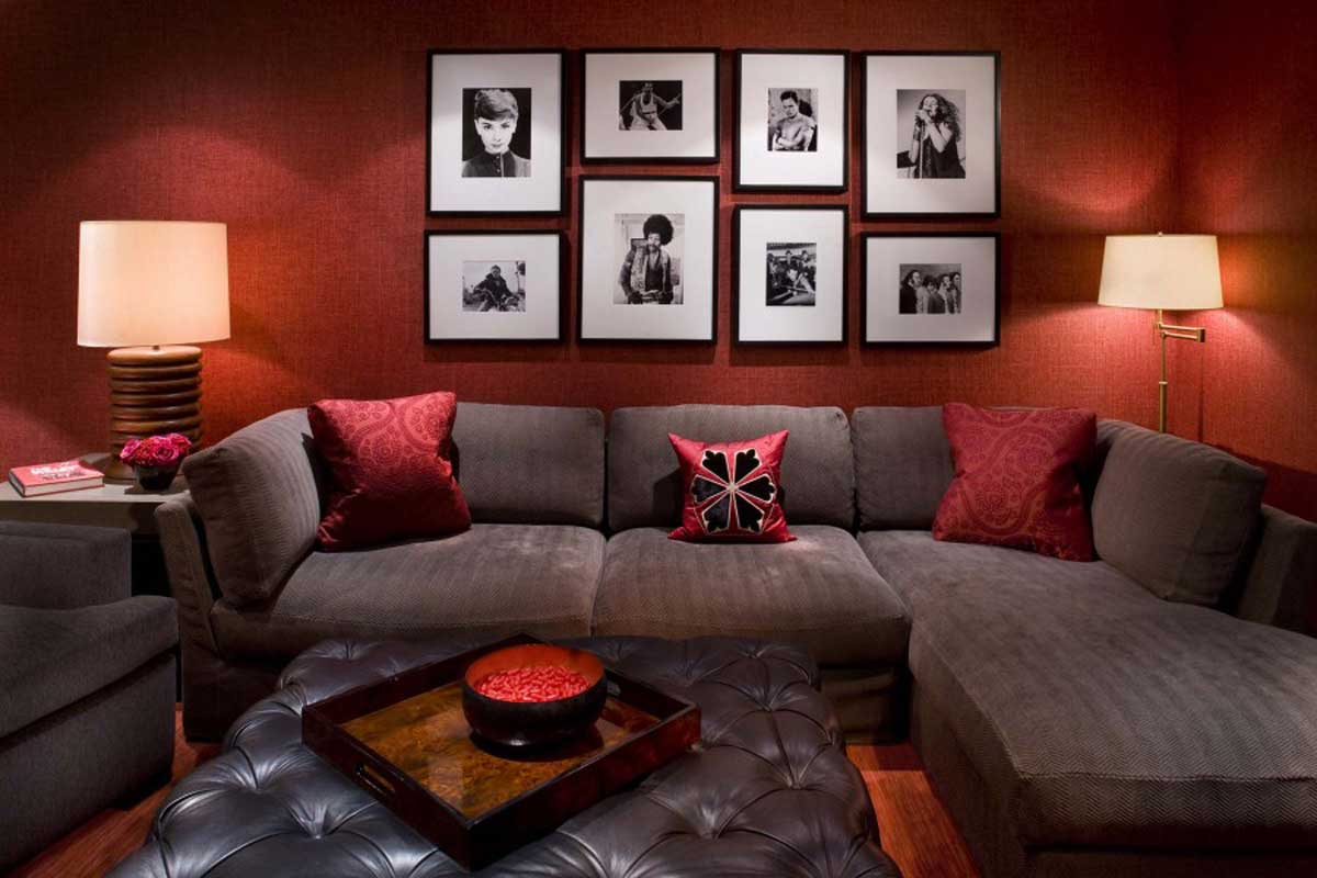 Eclectic red living room as well living room with red couch decorating