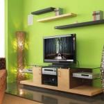 ديكورات خلف التلفزيون جدار لونه تفاحي