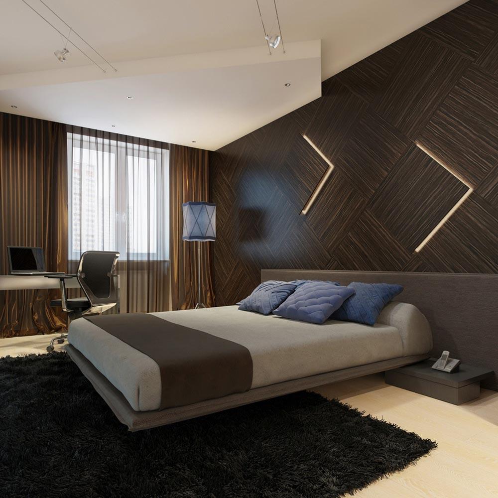 ديكور مودرن خشبي بني غامق لغرفة النوم | المرسال