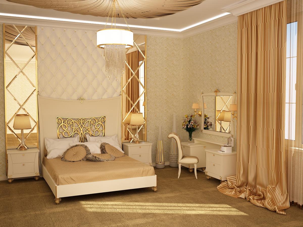 غرفة نوم كلاسيكية لون بيج | المرسال