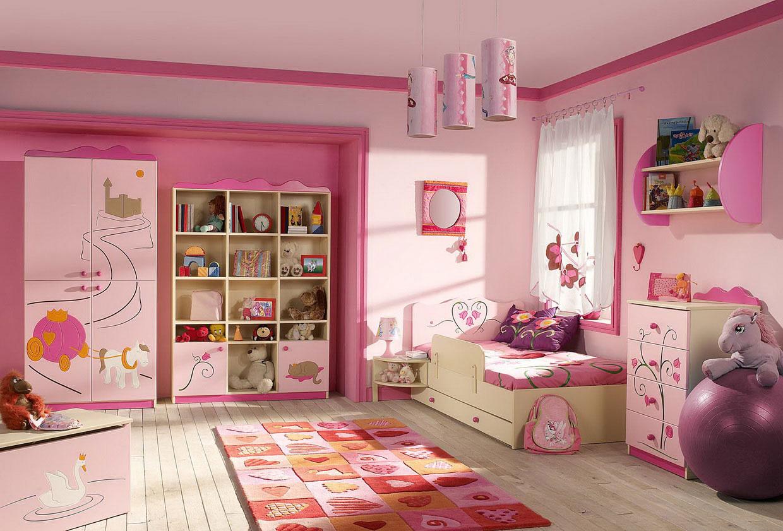غرف بنات صغار لون وردي