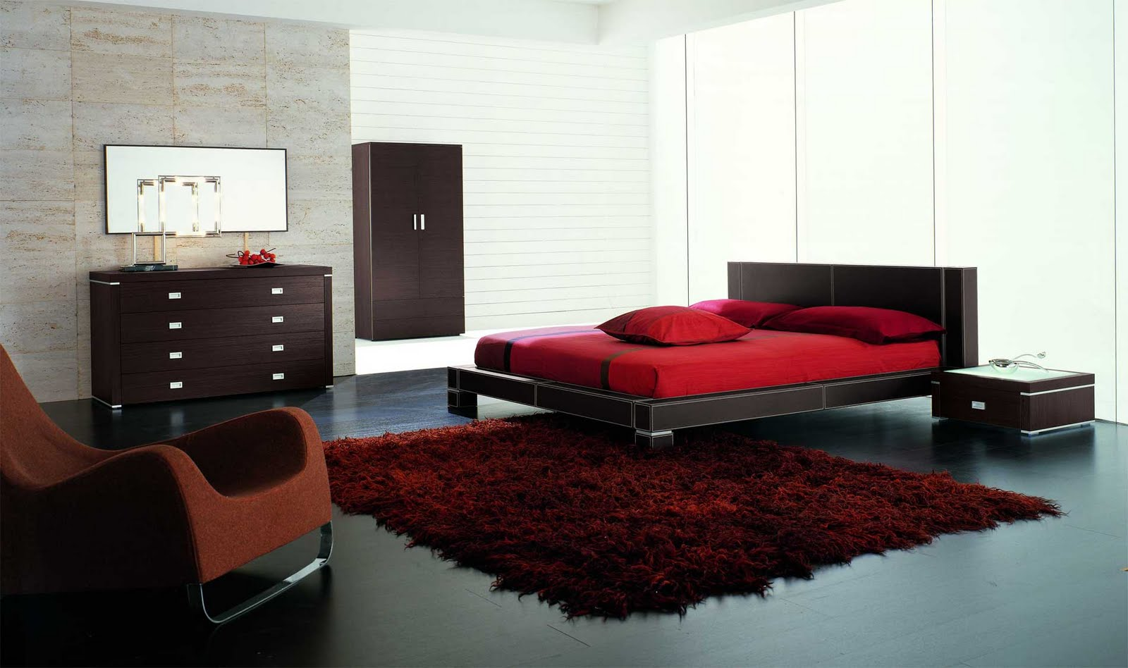 تصاميم غرف النوم احمر واسود | المرسال
