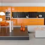 المطابخ الايطالية الجديدة باللون البرتقالي و الاسود - 5246