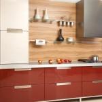 صورة مطبخ ايطالي احمر و بيج - 5247