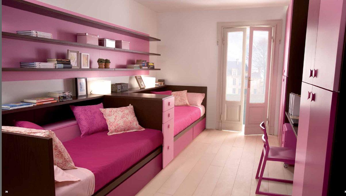 غرف نوم بنات سريرين ورديه | المرسال