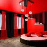 غرفة للزوجين رومانسية لون احمر و اسود سرير مدور - 5014