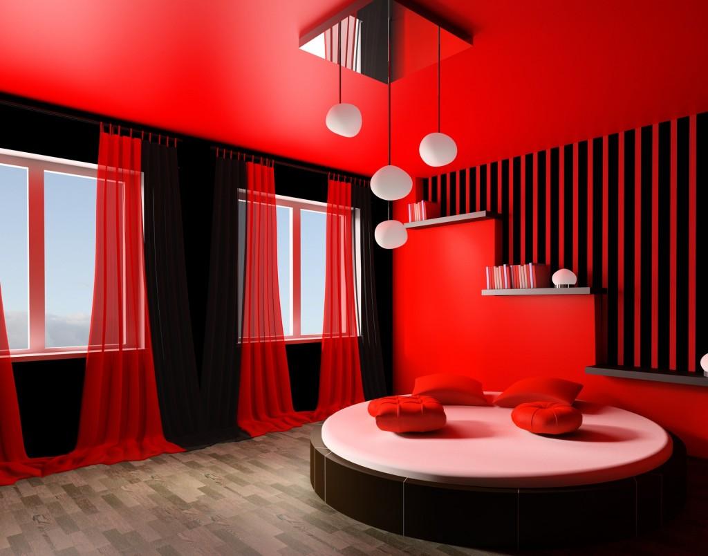 غرفة للزوجين رومانسية لون احمر و اسود سرير مدور