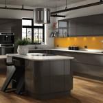 تصميم حديث لمطبخ مودرن مفتوح لون رصاصي - 5594