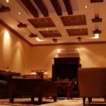 تصميم سقف جبس لون خشبي بني - 7637