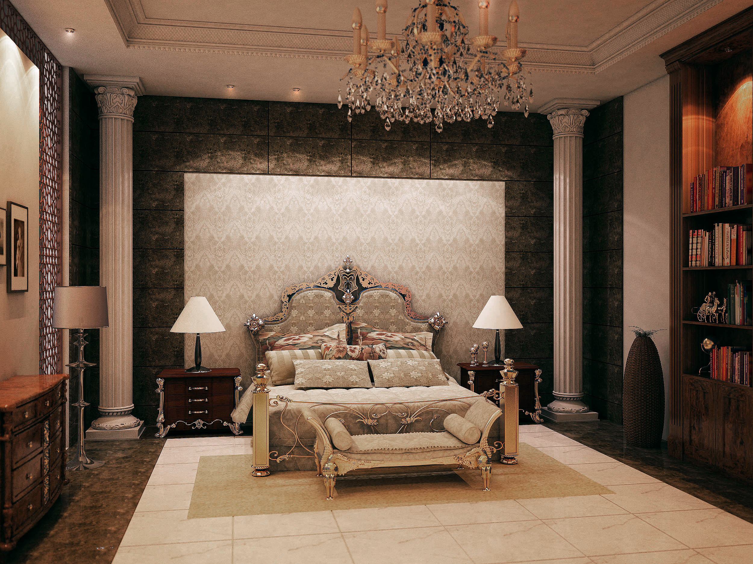احدث غرف نوم كلاسيكية