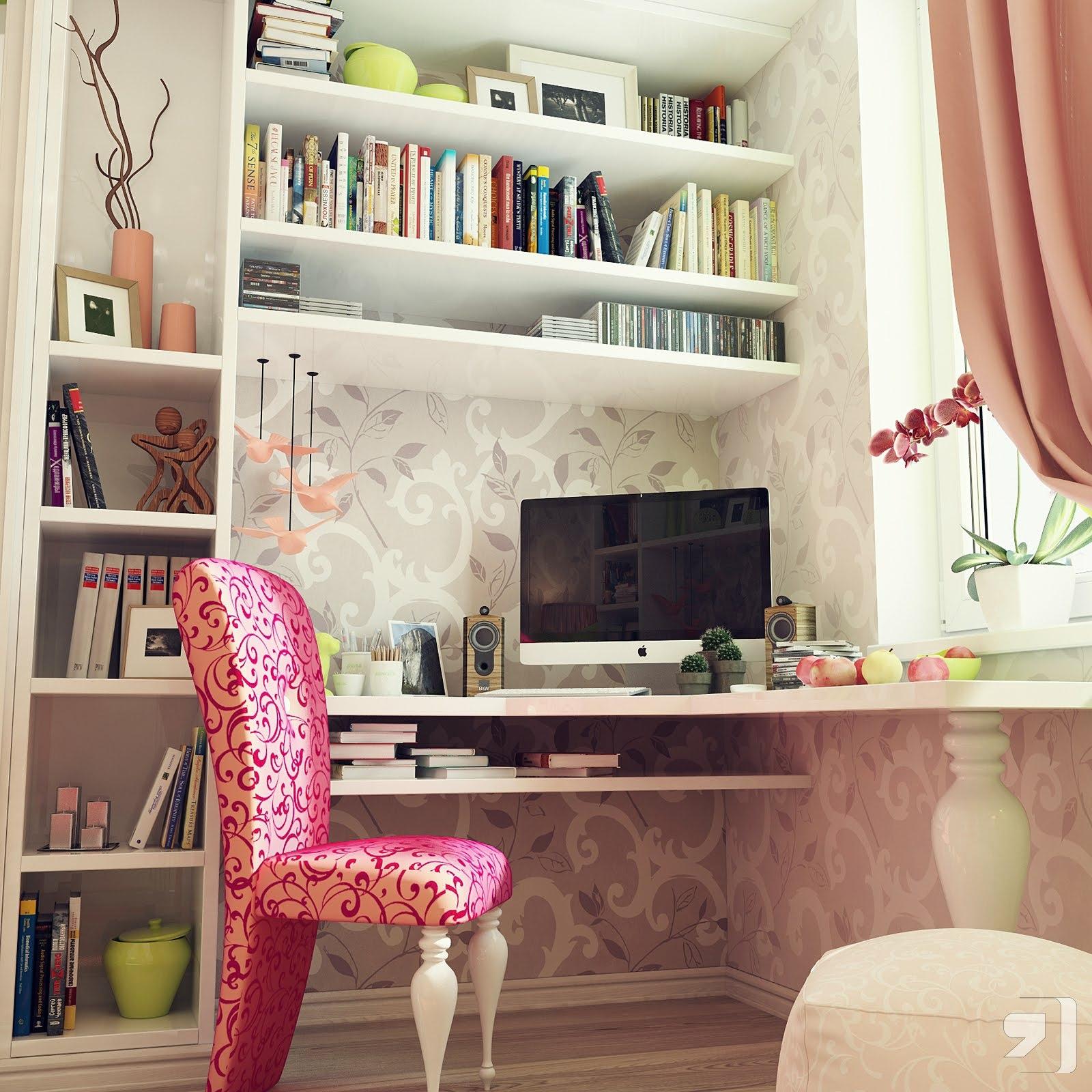 تصميم طاولة للكمبيوتر في غرف البنات | المرسال
