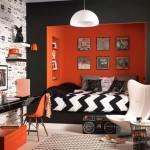 غرف نوم باللون البرتقالي