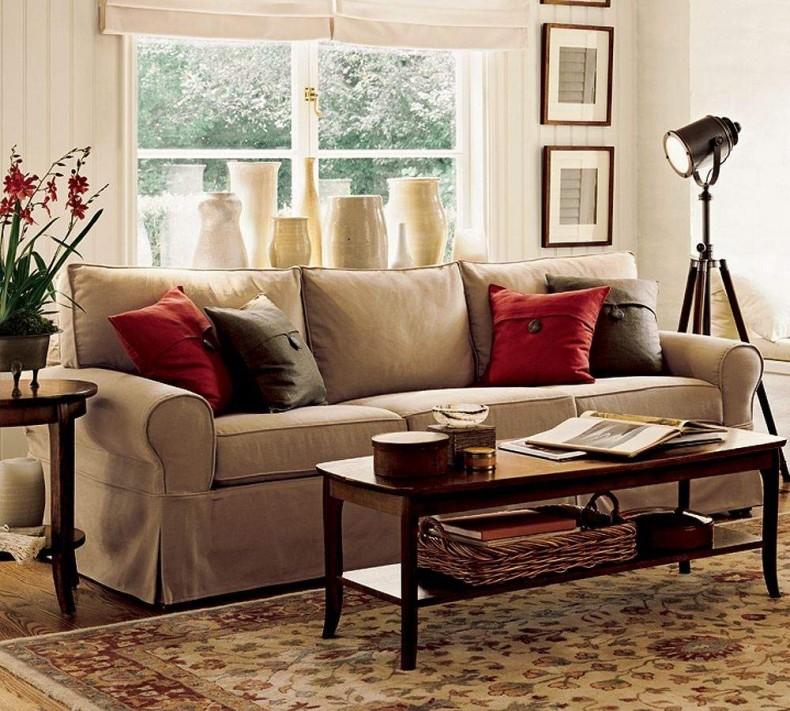 Living Room Comfortable White Sectional Sofa For Elegant: أفكار لتزيين غرفة المعيشة