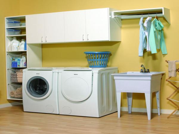 تصميم غرف غسيل الملابس باللون الأصفر والأبيض | المرسال
