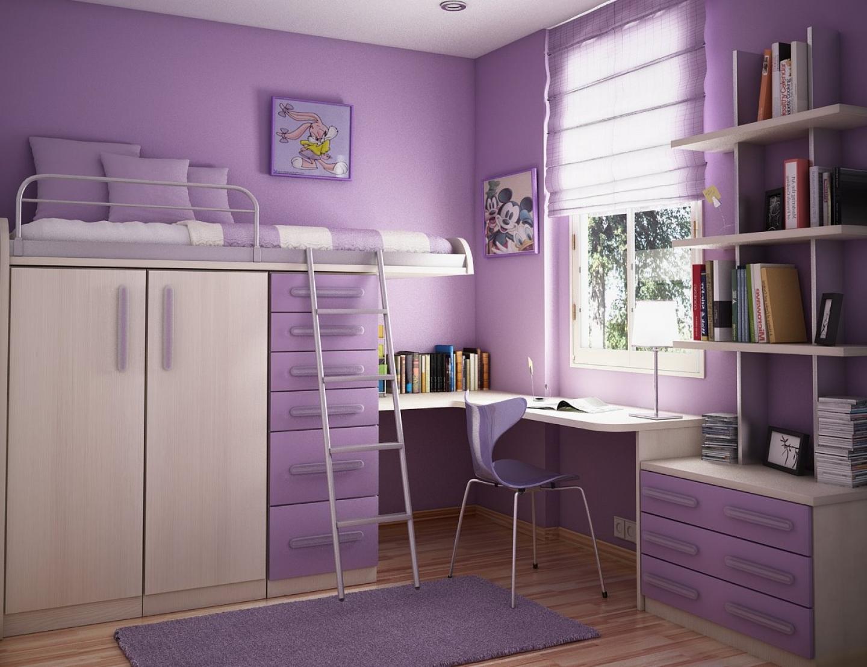 تصميم غرفة نوم أطفال رائعة بنفسجية اللون