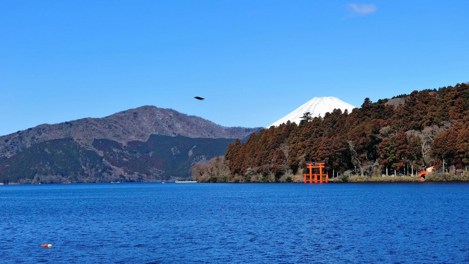 Torii del Hakone jinja en el lago Ashi y vista del Monte Fuji