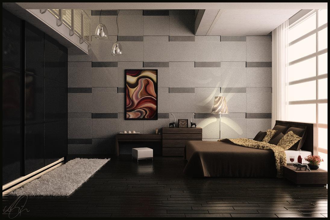 غرف نوم مودن بدرجات اللون البني