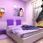 غرفة نوم بنات 2014 باللون الموف