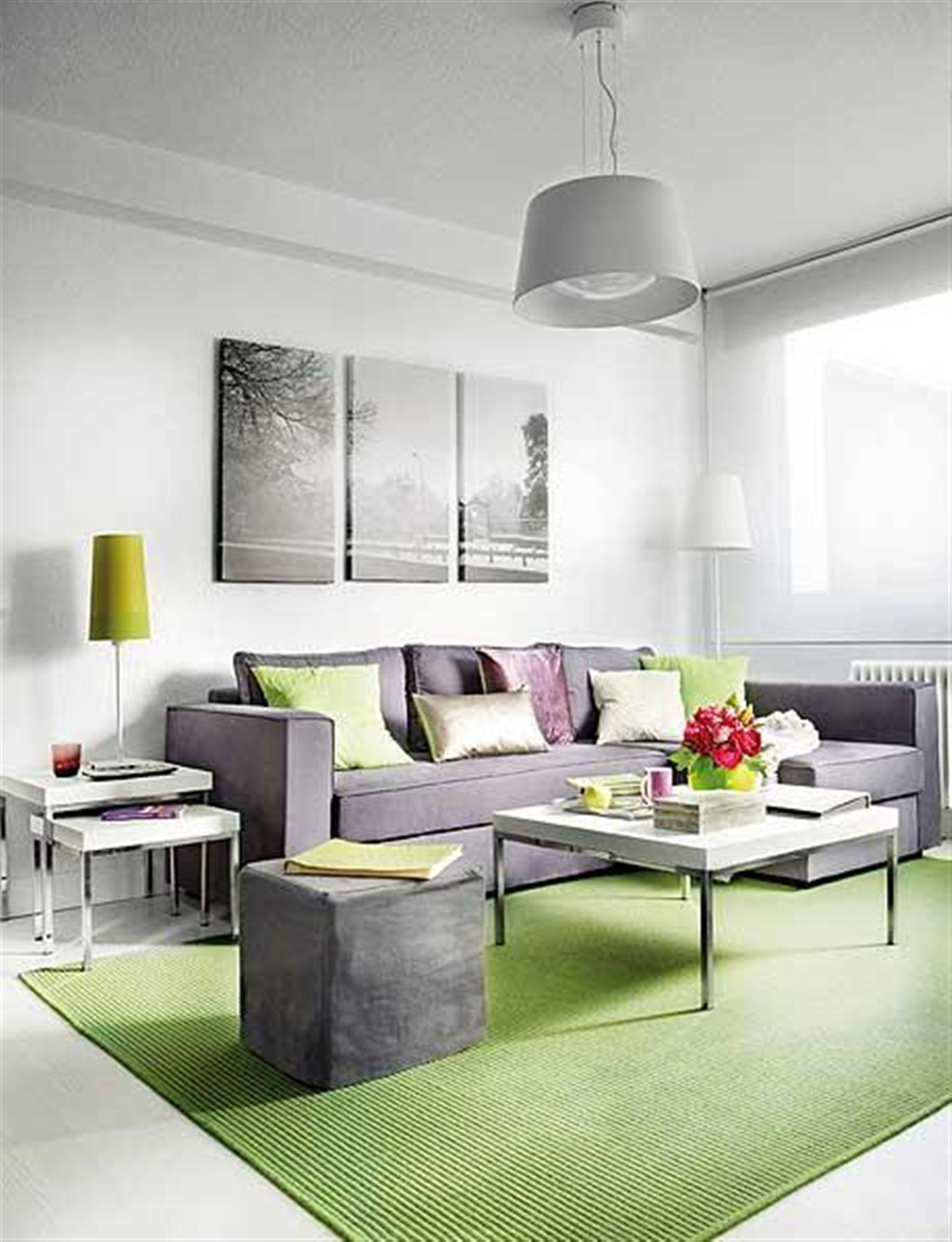 صالة جلوس باللون الرمادي والأخضر | المرسال