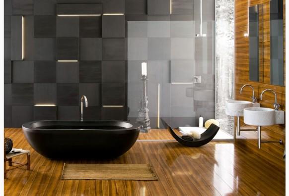 تصميم حمامات باللون الأسود للحمامات