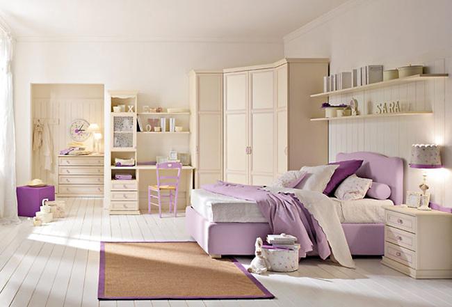 غرف نوم اطفال باللون البيج والموف | المرسال