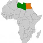 موقع مصر وليبيا علي الخريطة