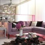 جمال اللون الموف في غرف معيشة 2014