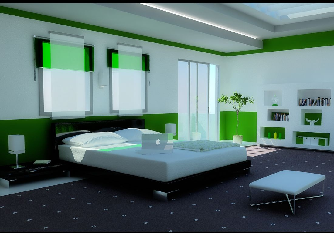 اجمل ديكورات لغرف النوم المودرن Modern-Green-Bedroom.jpg