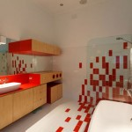 حمام باللون الأحمر والبيج - 31739