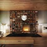 مكتبة منزلية معاصرة