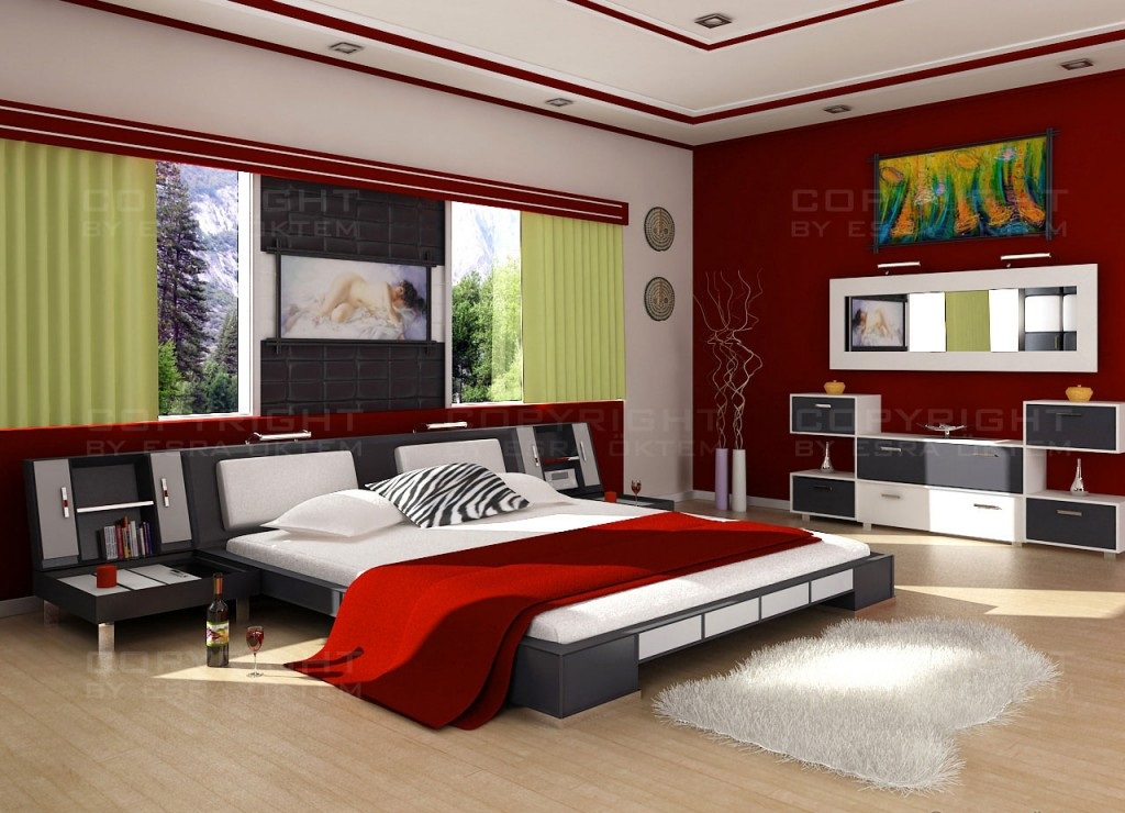 modern bedroom with red color 313 مجموعة صور غرف نوم للعرسان مودرن و صور غرف نوم كلاسيكية للعرسان بالوان وتصاميم فريدة و متميزة