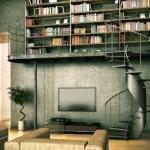 مكتبات منزلية باللون الزيتي