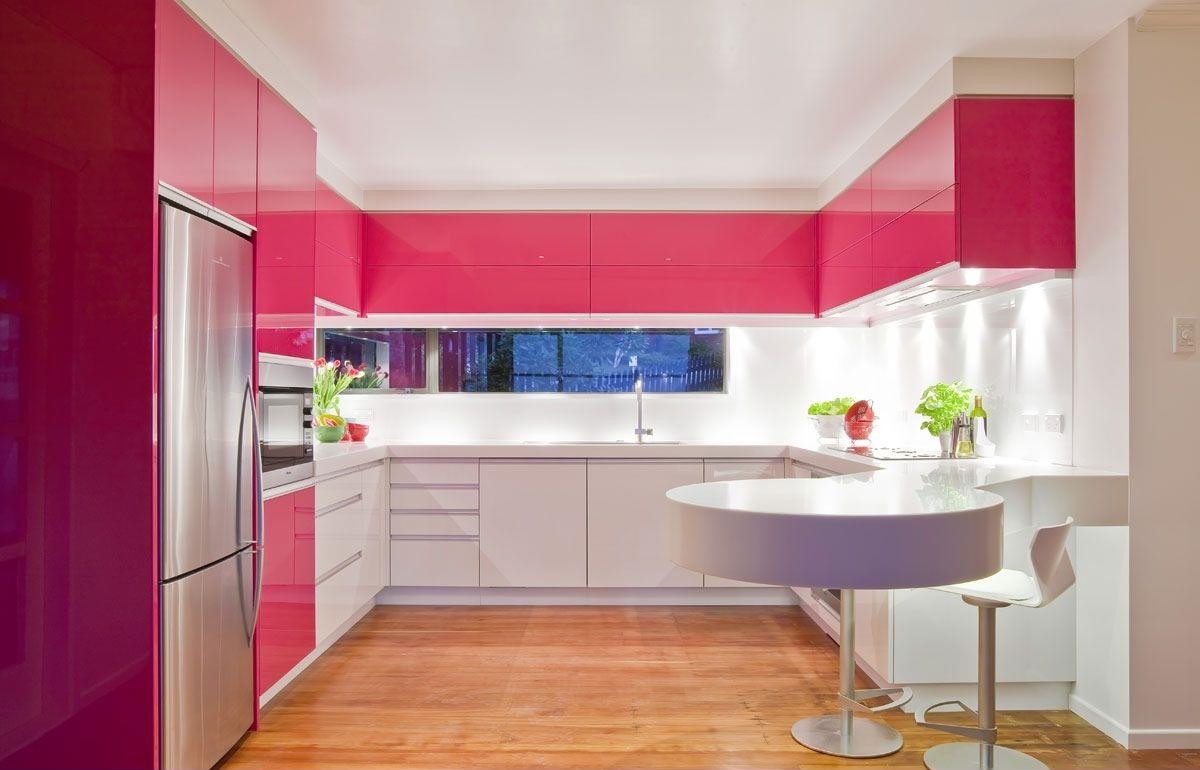 ديكورات مطابخ رقيقة الوان هادئة pink-modern-kitchen.